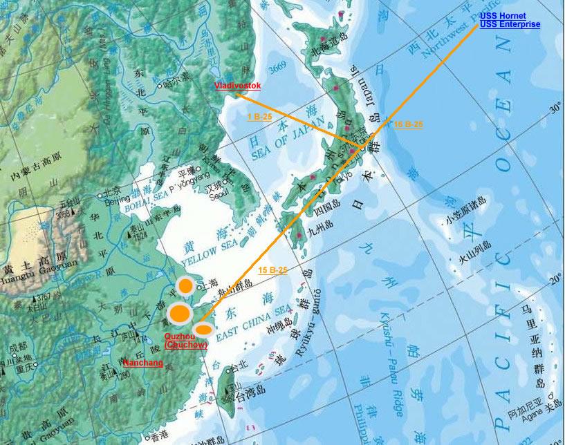 Mapa de la incursión de Doolittle