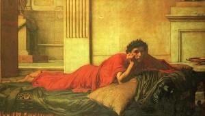 El remordimiento-de Nerón después del asesinato de su madre. Pintura de John William Waterhouse
