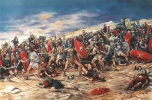 Espartaco combatiendo junto a los esclavos