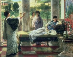 Catulo leyendo sus poemas en casa de Lesbia
