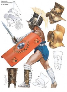 Equipamiento de un gladiador myrmillo