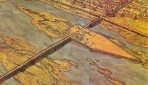 El puente romano aprovechando un vado natural del Guadiana
