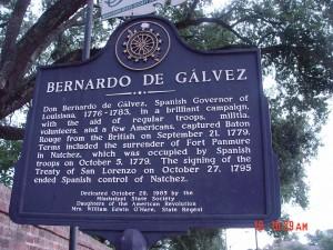 Placa dedicada a Bernardo de Gálvez