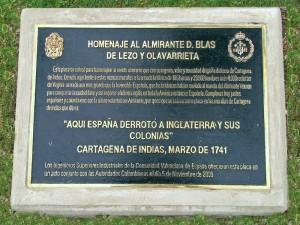 Placa dedicada a Blas de Lezo