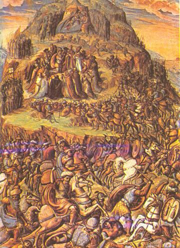 Batalla de Clavijo según un códice de la Catedral de Santiago de Compostela.