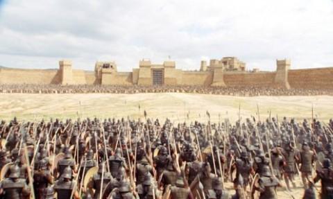Ilíada, guerreros micénicos ante las murallas de Troya