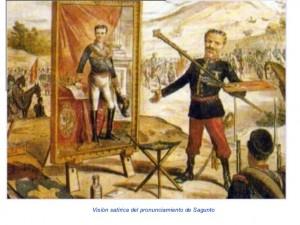 Burguesía valenciana, imagen satírica del pronunciamiento de Sagunto