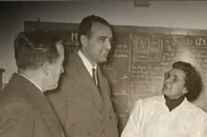 Manuela Vicente Ferrero con el Ministro Ruiz Giménez