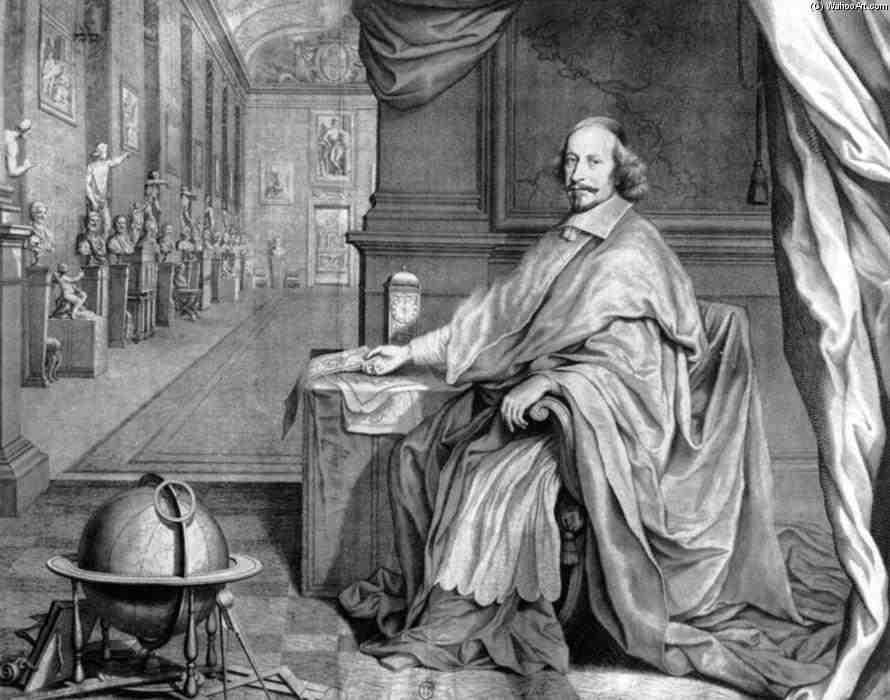 Los juegos en la Corte de Francia. Cardenal Mazarino. Grabado de Robert Nanteuil