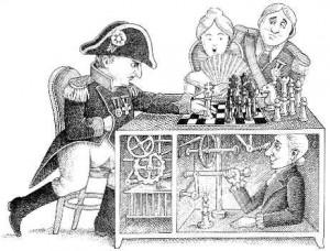"""Los juegos en la Corte de Francia. Grabado de Napoleón frente al autómata """"El Turco"""""""