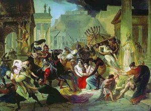 Imagen 2. Genserico saquea Roma. La mediación del Papa León I y la entrega de los bienes de la Iglesia impidieron que los vándalos incendiaran la ciudad pero a cambio saquearon el Palatino y el Capitolio durante catorce días. Pintura de Karl Briulov.
