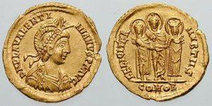 Imagen 1. Sólido del emperador Valentiniano III.