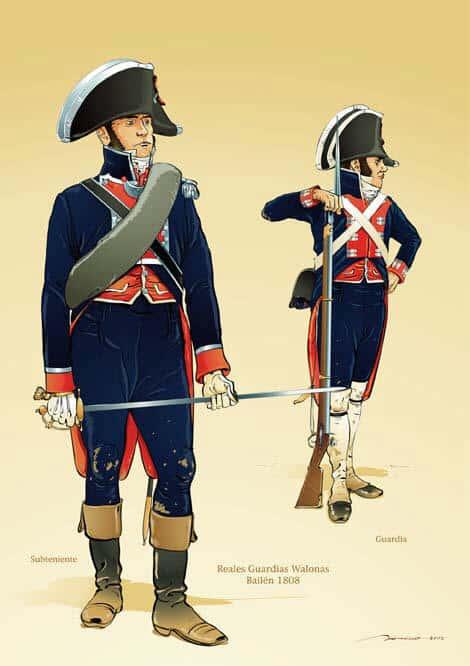 El Ejército español en 1808. Guardias de Infantería Valona.