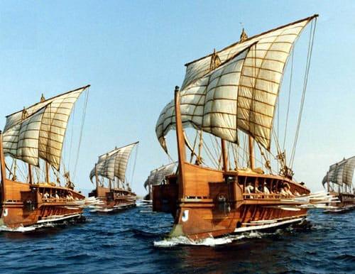 La reina Artemisia y la batalla de Salamina. Recreación moderna de los trirremes de la Antigua Grecia.