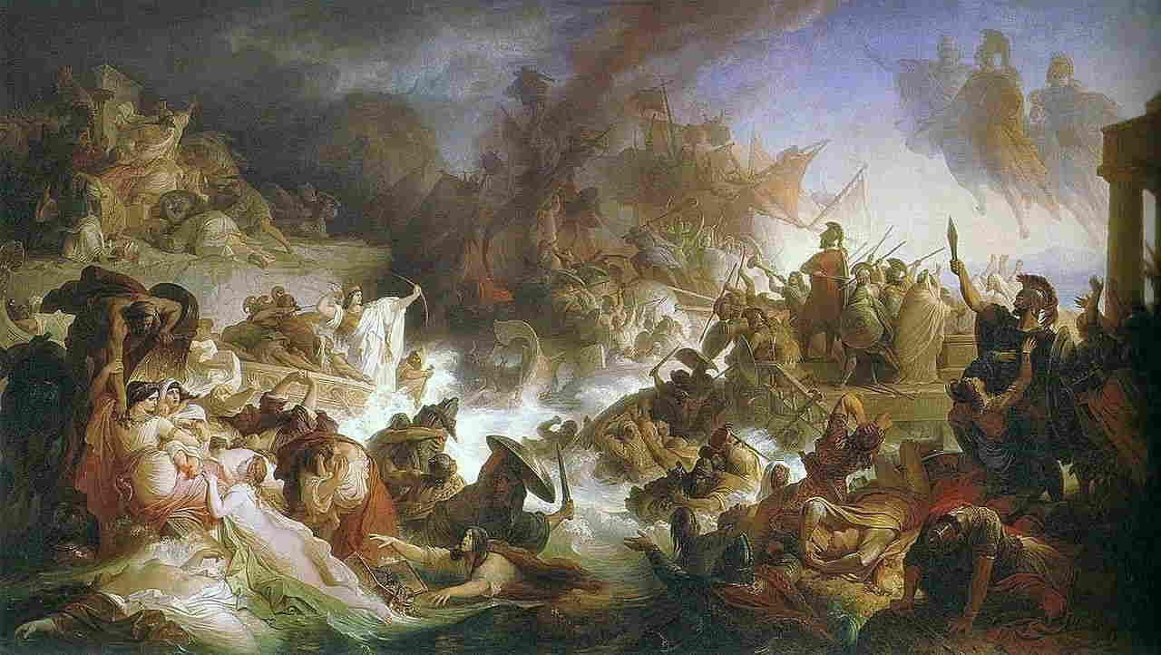 La reina Artemisia y la batalla de Salamina. La batalla de Salamina, óleo sobre tela pintado en 1868 por Wilhelm von Kaulbach